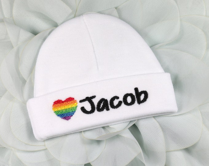 Personalized baby hat with embroidered rainbow heart - micro preemie / preemie / newborn / 0-3 months / 3-6 months