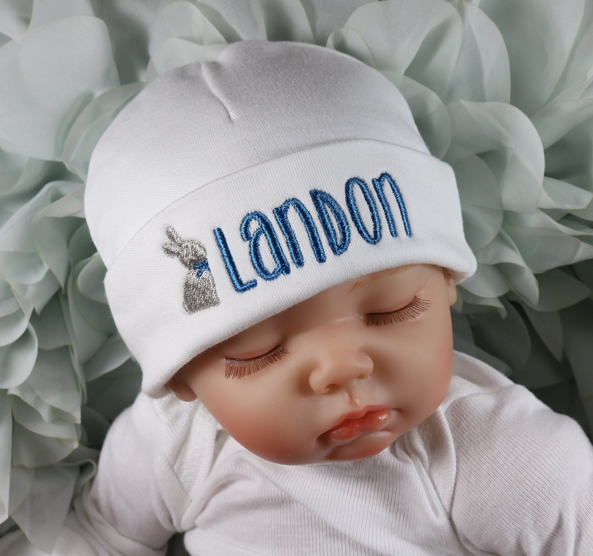 bbe5f3fe5beaa Personalized baby hat with Easter bunny micro preemie