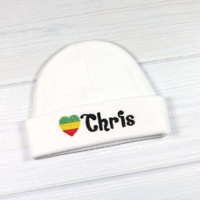 8943d616b4047 Personalized baby hat with embroidered Rasta flag heart