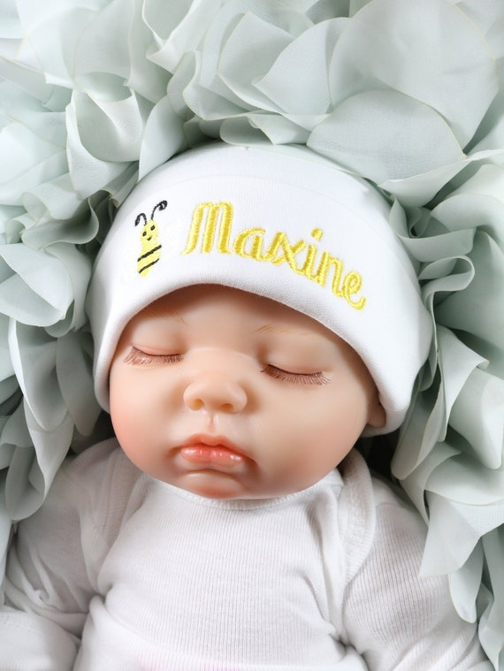 827c117c7f1a4 Personalized baby hat with embroidered bumble bee micro