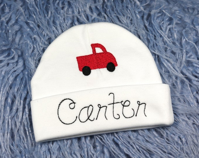Personalized baby hat with red truck - micro preemie / preemie / newborn / 0-3 months / 3-6 months