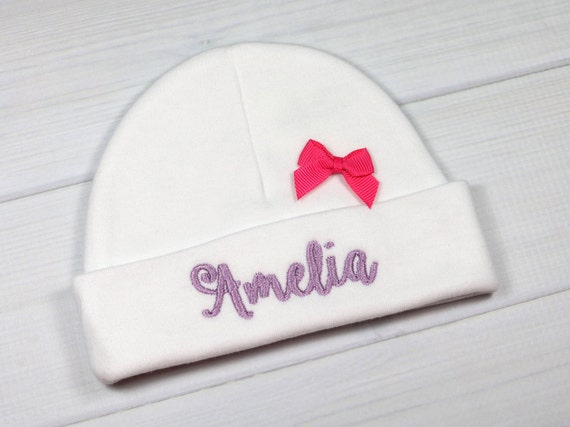 Personalized baby girl hat with pink bow preemie   newborn    a6b59edde73