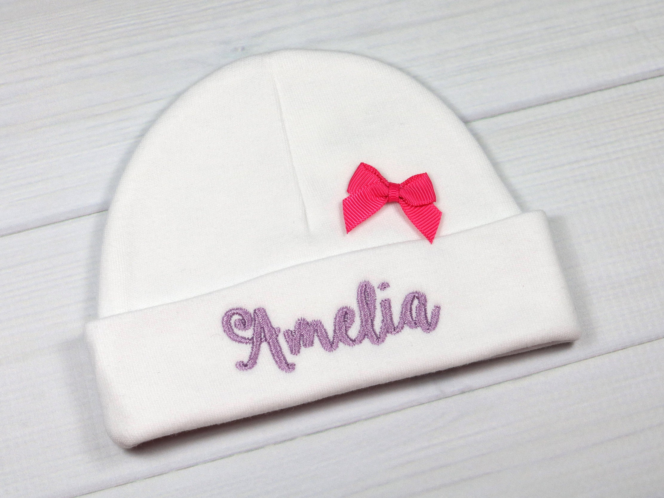 2a425c834 Personalized baby girl hat with pink bow - preemie / newborn / 0-3 months /  3-6 months. gallery photo ...