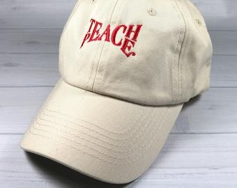 Teach Peace baseball cap - embroidered baseball hat, embroidered adjustable baseball cap, gift for teacher
