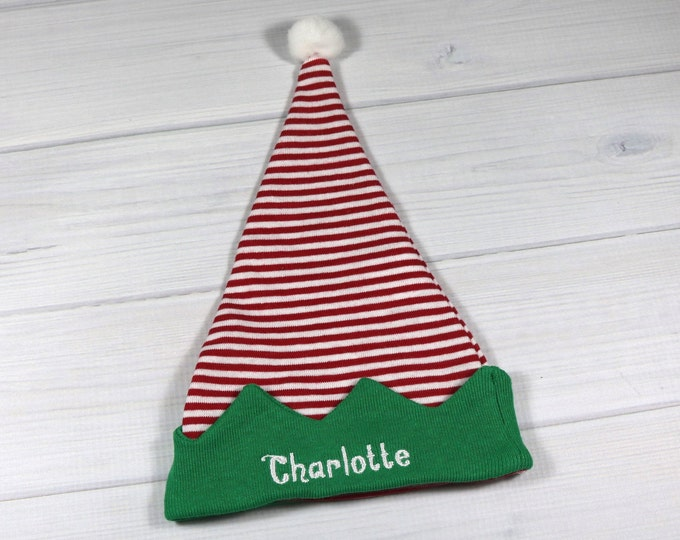 Personalized baby elf hat for Christmas - micro preemie / preemie / newborn / large newborn
