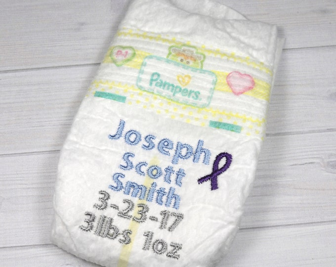 Preemie birth announcement diaper - embroidered diaper baby keepsake for memory box or shadow box