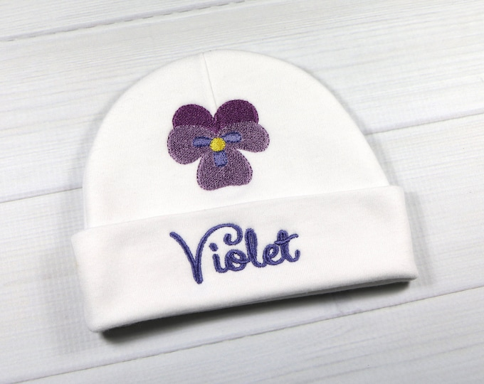 Personalized baby girl hat with violet flower - micro preemie / preemie / newborn / 0-3 months / 3-6 months