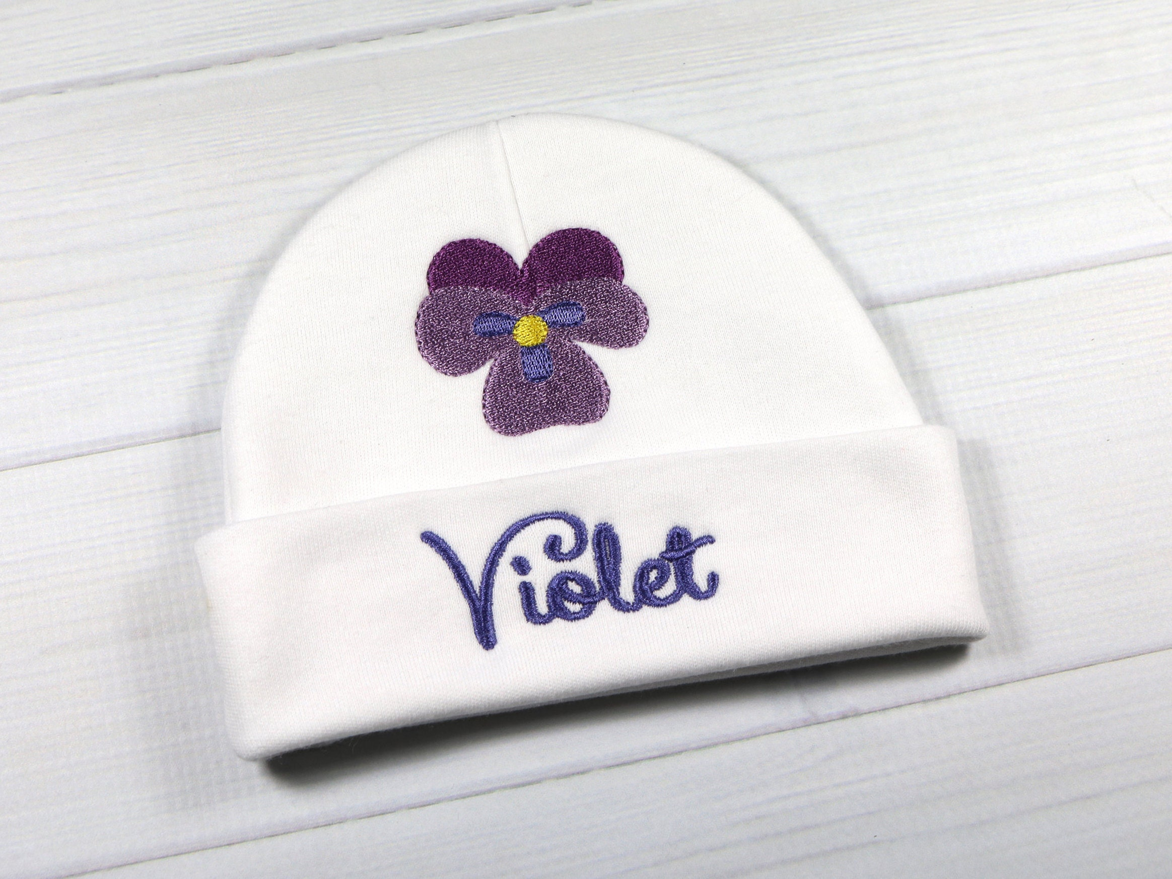 742860140 Personalized baby girl hat with violet flower - micro preemie / preemie ...