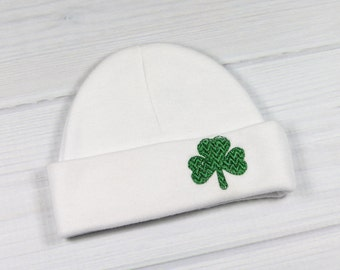 Baby hat with embroidered shamrock - micro preemie / preemie / newborn / 0-3 months / 3-6 months