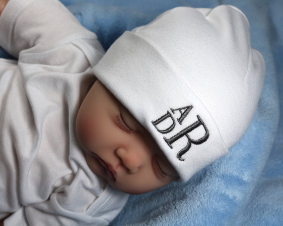 Personalized baby hat with stacked monogram micro preemie    0dfe16e4424e