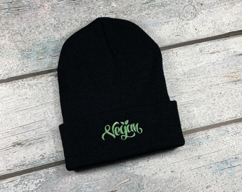 Vegan design embroidered winter hat - knit hat for adults, knit winter hat with Vegan design, knit beanie for men, knit beanie for woman