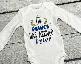 The PrinceHas Arrived personalized bodysuit for newborn boy - personalized preemie bodysuit - birth announcement for baby boy