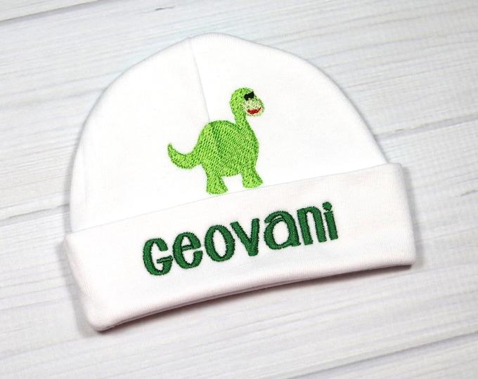 Personalized newborn hat with dinosaur - micro preemie / preemie / newborn / 0-3 months / 3-6 months