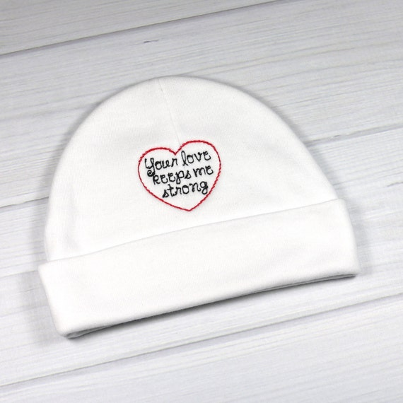 Baby hat for the NICU or PICU Your love keeps me strong  b52676776463
