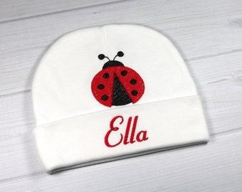 Personalized baby hat with ladybug - micro preemie / preemie / newborn / 0-3 months / 3-6 months