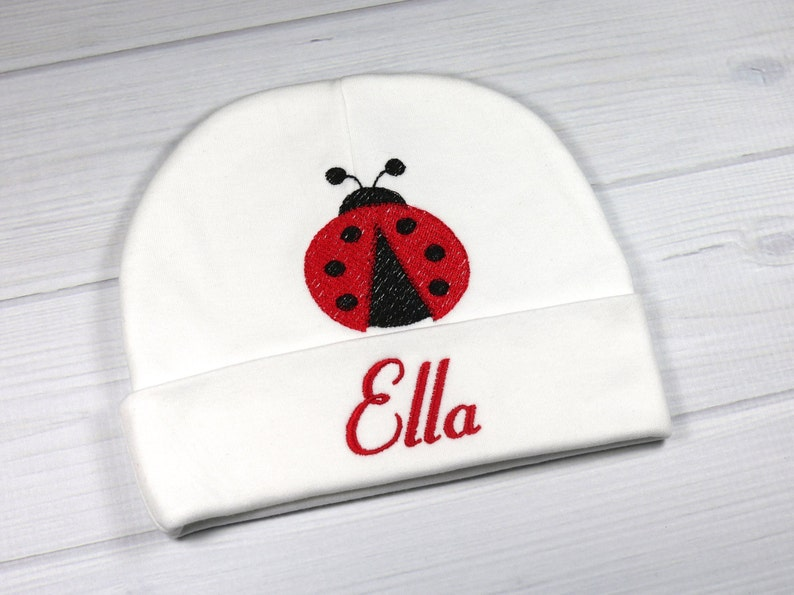 ed751f370 Personalized baby hat with embroidered ladybug micro preemie | Etsy