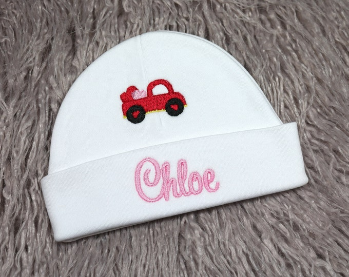 Personalized baby hat with truck of hearts - micro preemie / preemie / newborn / 0-3 months / 3-6 months