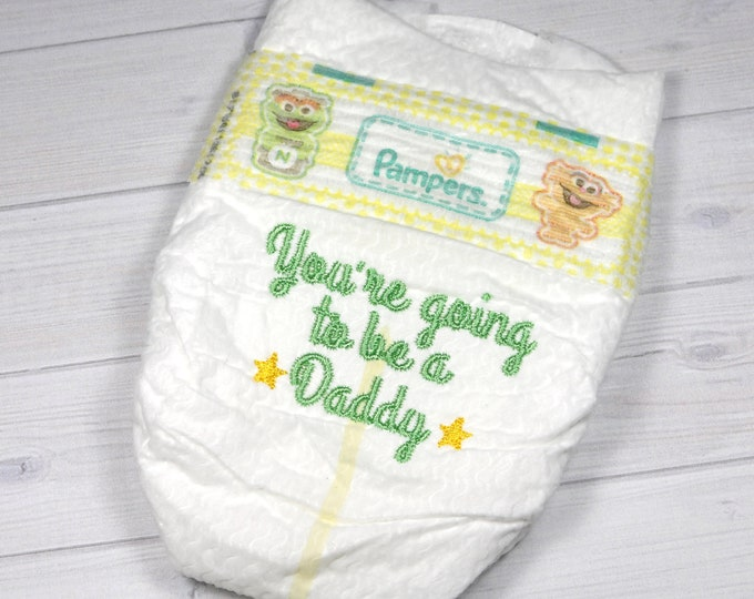 Pregnancy announcement diaper - You're Going to Be a Daddy - embroidered diaper baby keepsake for memory box or shadow box