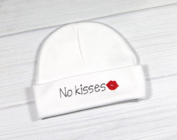 No Kisses newborn hat - No Kisses preemie hat - baby shower gift - NICU hat