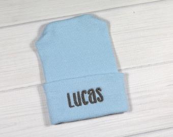 Baby hospital hat - personalized newborn beanie - personalized preemie hat - blue baby hat - baby boy name hat