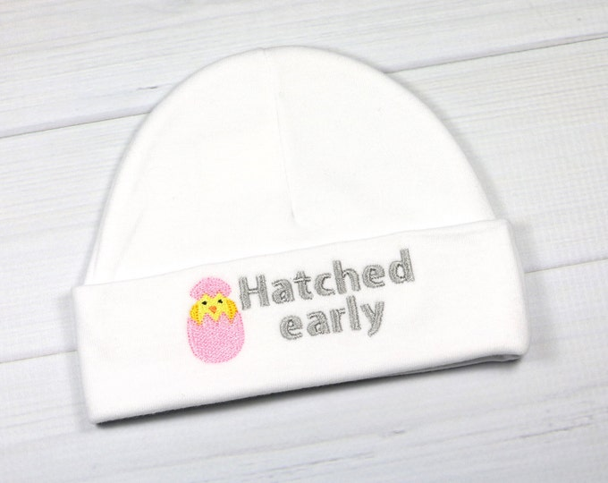 Preemie hat with embroidered chick - Hatched Early - preemie, newborn, 0-3 months, 3-6 months