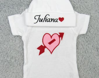 Personalized preemie / newborn outfit  - Valentine's day gift, baby shower gift, newborn photography, take home, gift set, NICU, baby heart