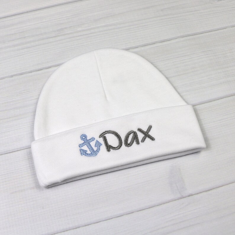 2a2539eaecb1b Personalized baby hat with embroidered anchor micro preemie