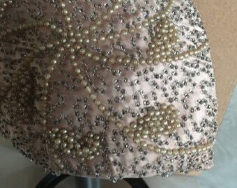 Vintage Wedding Fascinator Bridal Hat Silk Glass Bead Pearl Pink Peach Fabric