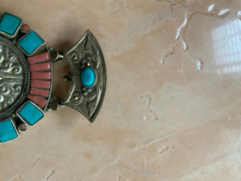 Tibetan Mixed Silver Turquoise and Coral  Pendant