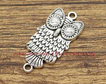 1 Owl blue pendant antique silver tone B339
