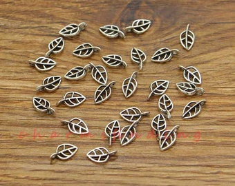 17 10 charms Metal Mini leaf Fine Rose Gold 4 mm