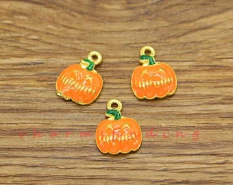 Fast Deliver 10pcs Halloween Pumpkin Beads Enamel Charms Pendant Diy Jewelry Findings Home & Garden