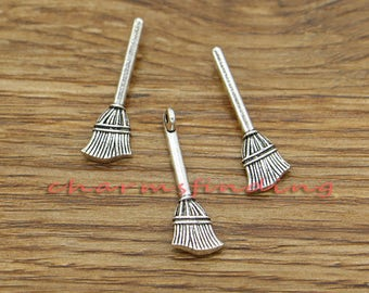 Pack of 20 Mini 3D Flying Witch Tibetan Silver Charm Pendant Broomstick