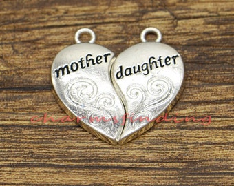 8a786b923 10 Sets Mother Daughter Charms Mother And Daughter Charm Mother Day Charm  Antique Silver Tone 28x29mm CF1977