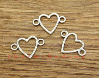 Metal filigree charm  connector antique silver heart 10 pieces