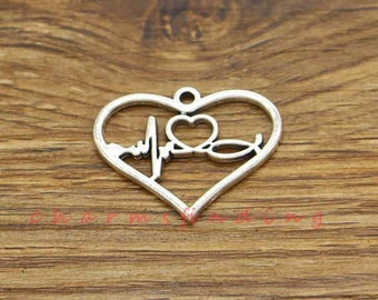 6 Heartbeat Connector Charms Antique Silver Tone Pulse SC4961