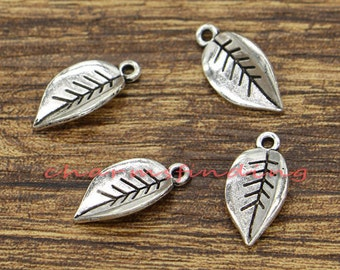 20//100pcs Antique silver leaf charms Pendant Connectors Jewelry Finding 41x19mm