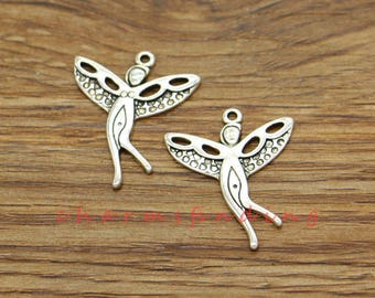 Tibetan Alloy Antique Silver Fairy Angel Pixie Charms Tinkerbell 25x14mm