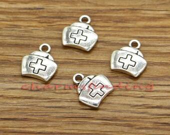 4 Nurse cap heart charms silver tone MD132