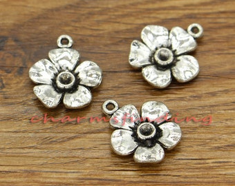 20pcs Flower Charms Floral Charms Antique Silver Tone 17x20mm cf1419