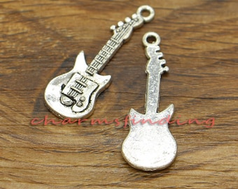 30pcs Guitar Charms Playing Charms Antique Silver Tone 11x31mm cf1089