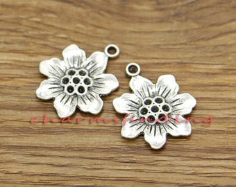 20pcs Flower Charms Floral Charms Antique Silver Tone 22x26mm cf3146