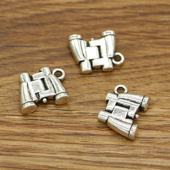 4 Binoculars charms antique silver tone PT23