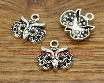 20pcs Owl Charms Wise Owl Bird Charms Antique Silver Tone 18x19mm cf2628