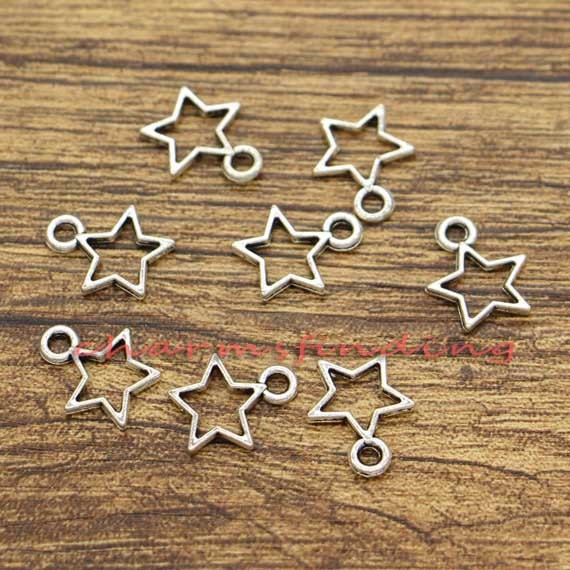 100pcs Open Star Charms Double Sided Charms Bulk Charms Antique Silver Tone 11x13mm cf0765