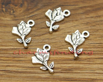 50pcs Rose Flower Charms Floral Charms Antique Silver Tone 13x17mm cf1958