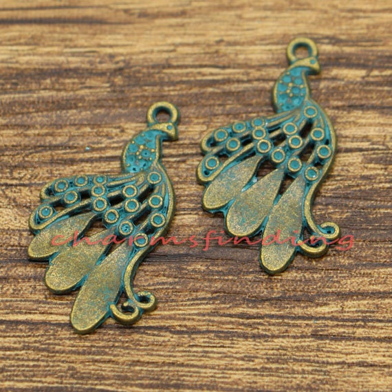 10pcs-Patina brass tone dragonfly charm