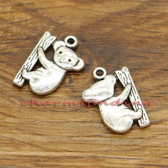 BULK 50 Koala charms antique silver tone A837