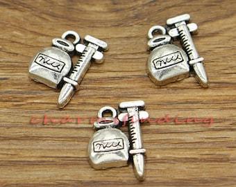 20pcs Syringe Charms Medical Profession Charm Antique Silver Tone14x18mm cf1795