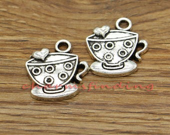 15pcs Tea Charms Cup and Saucer Charms Antique Silver Tone 23x25mm cf3091